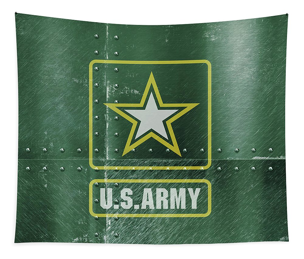United States Tapestry featuring the mixed media United States Army Logo On Green Steel Tank by Design Turnpike