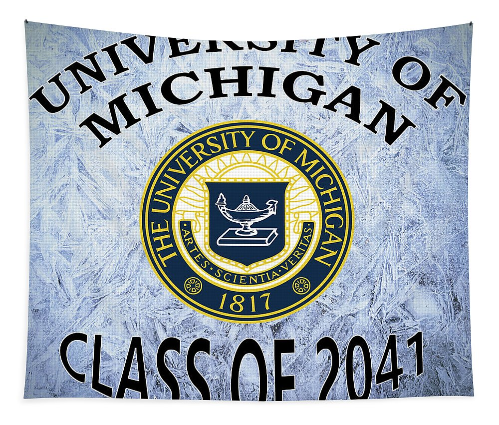 University Tapestry featuring the digital art University Of Michigan Class Of 2041 by Movie Poster Prints