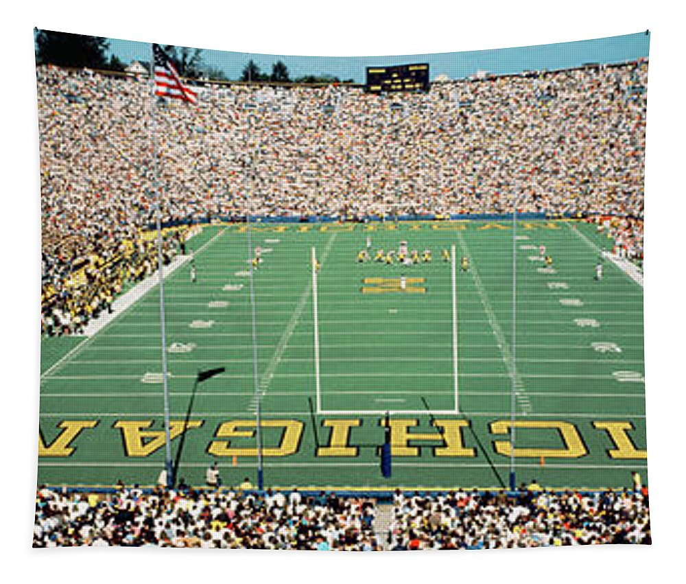 Photography Tapestry featuring the photograph University Of Michigan Stadium, Ann by Panoramic Images