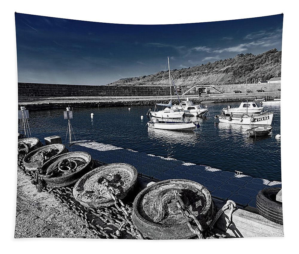 Lyme-regis Tapestry featuring the photograph Unplugged At The Harbour - Toned by Susie Peek