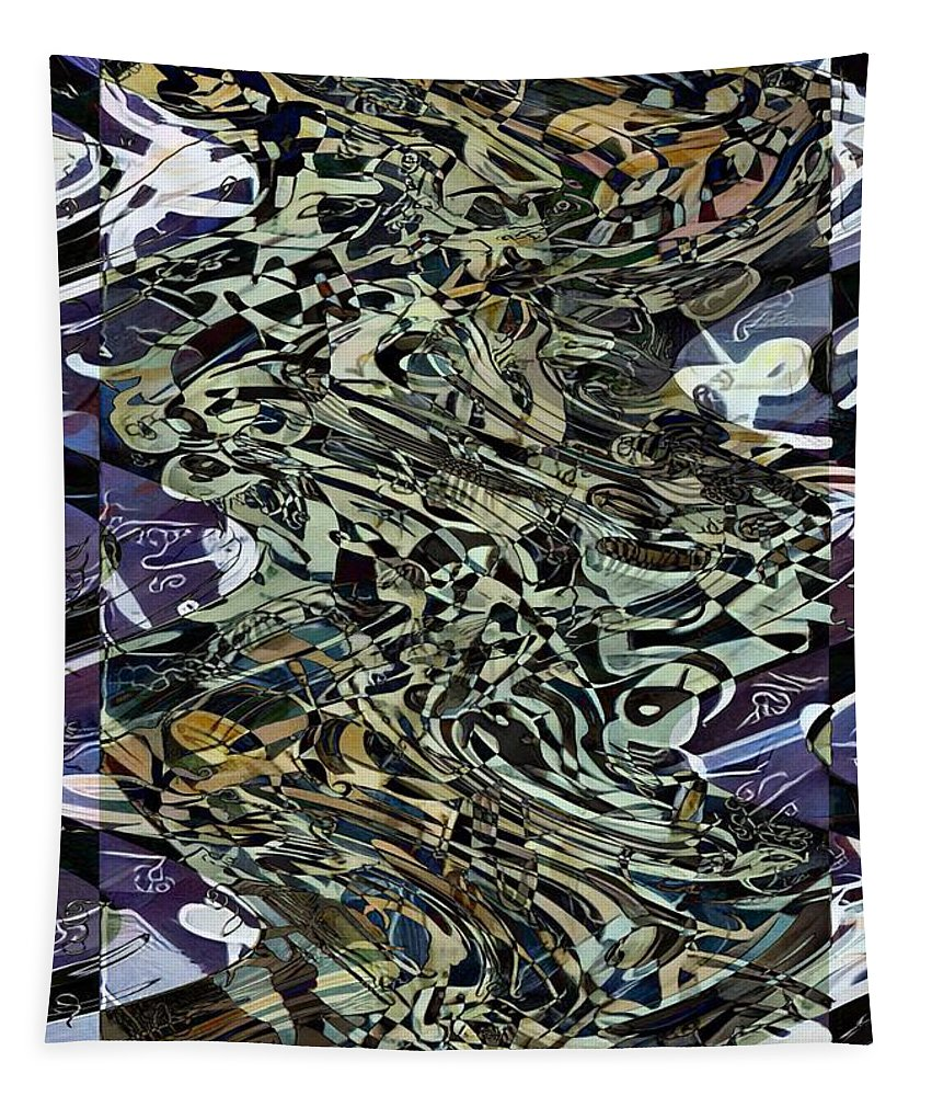 Calligraphy Abstract Tapestry featuring the painting Unspoken Words by Philip Openshaw
