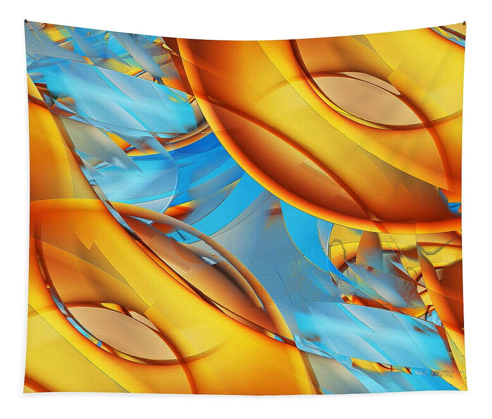 Orange Tapestry featuring the digital art Untitled Xiii by Tiia Vissak