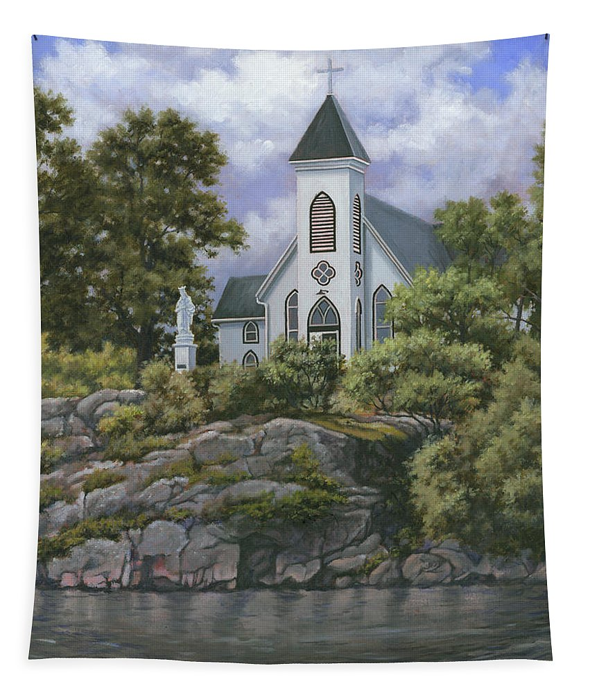 Church Tapestry featuring the painting Upon This Rock by Richard De Wolfe