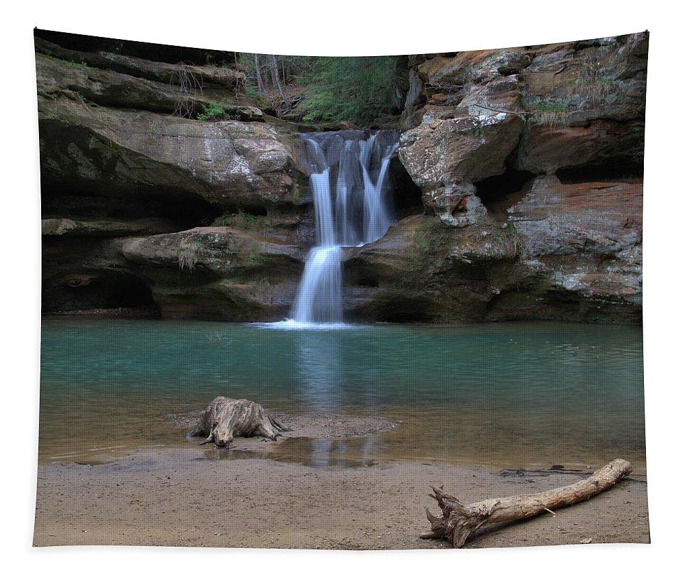 Upper Falls Hocking Hills Ohio Tapestry featuring the photograph Upper Falls In Hocking Hills by Dan Sproul