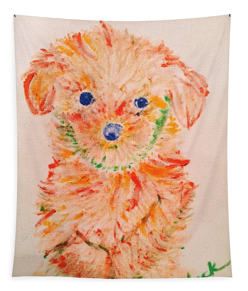 Puppy Tapestry featuring the painting Upright Puppy by Jack Bunds