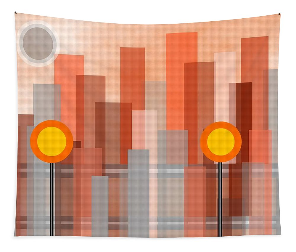 Geometric Art Tapestry featuring the digital art Uptown by Kathleen Sartoris