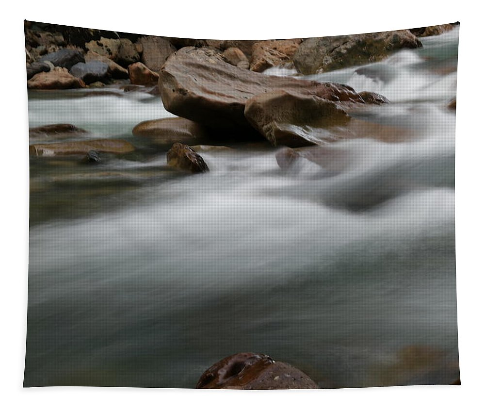 Rivers Tapestry featuring the photograph Upturned Rock In A Flowing Stream by Jeff Swan