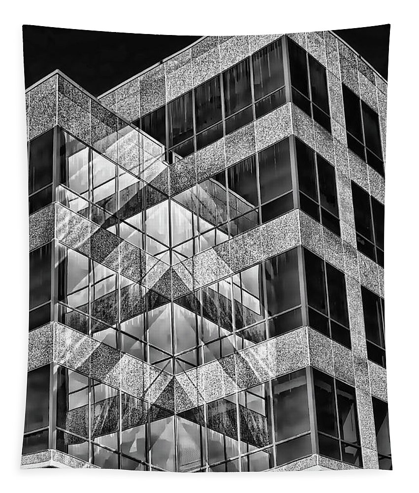 Urban Tapestry featuring the photograph Urban Abstract - Mirrored High-rise Building In Black And White by Mitch Spence