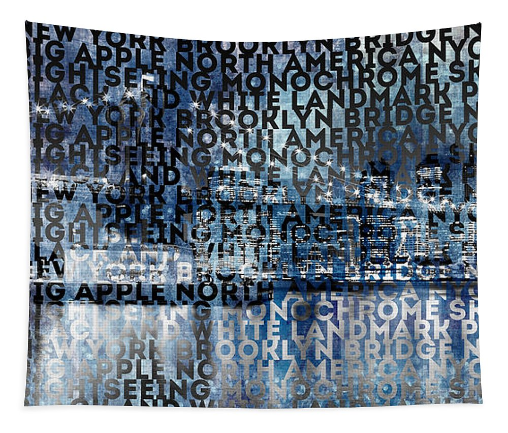 Abstract Tapestry featuring the photograph Urban-Art NYC Brooklyn Bridge I by Melanie Viola