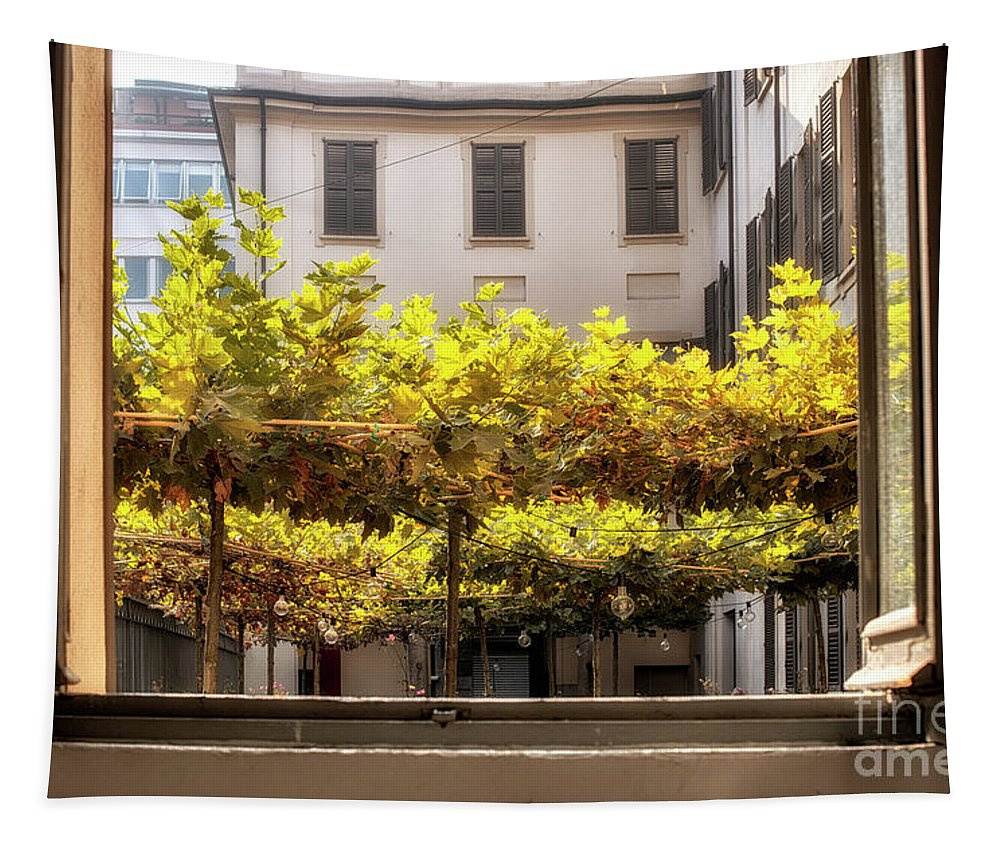 Milan Tapestry featuring the photograph Urban Bower. Milan, Italy. by Claudio Lepri