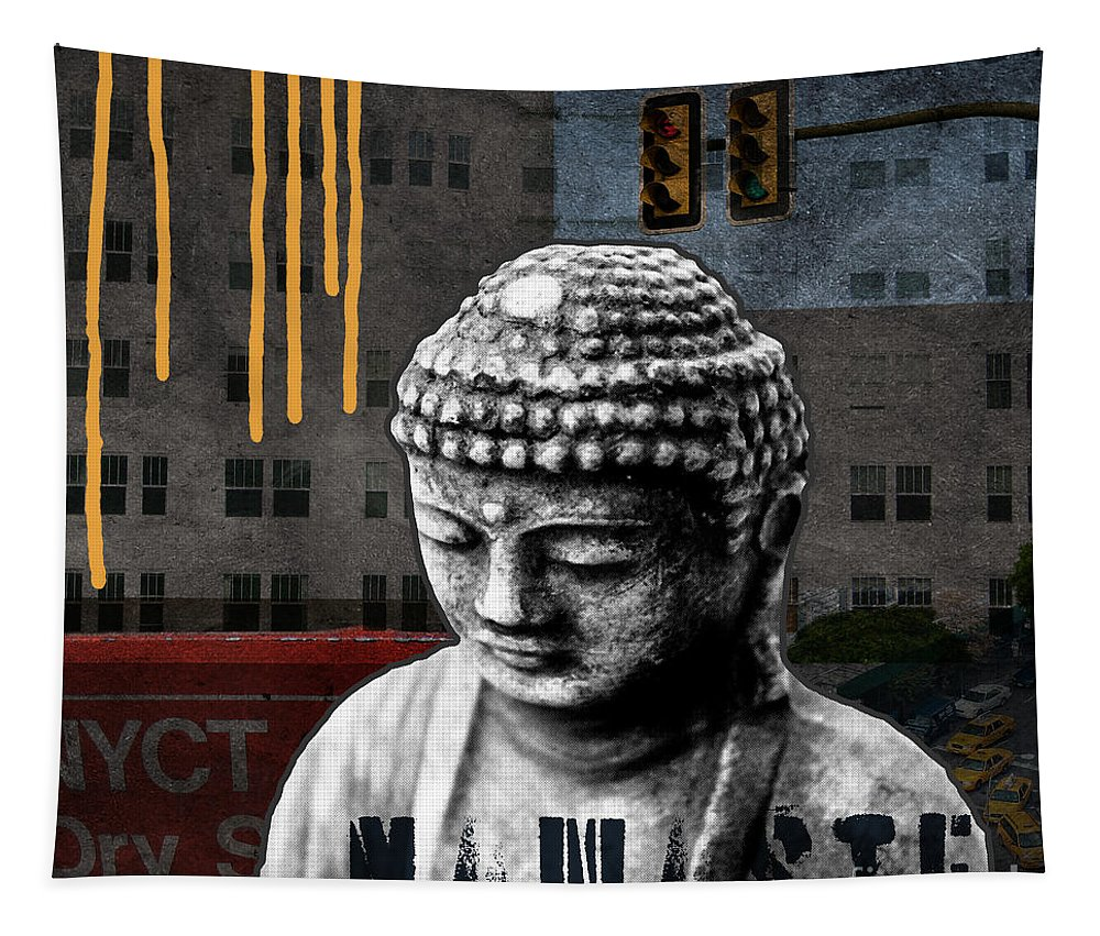 Buddha Tapestry featuring the mixed media Urban Buddha by Linda Woods