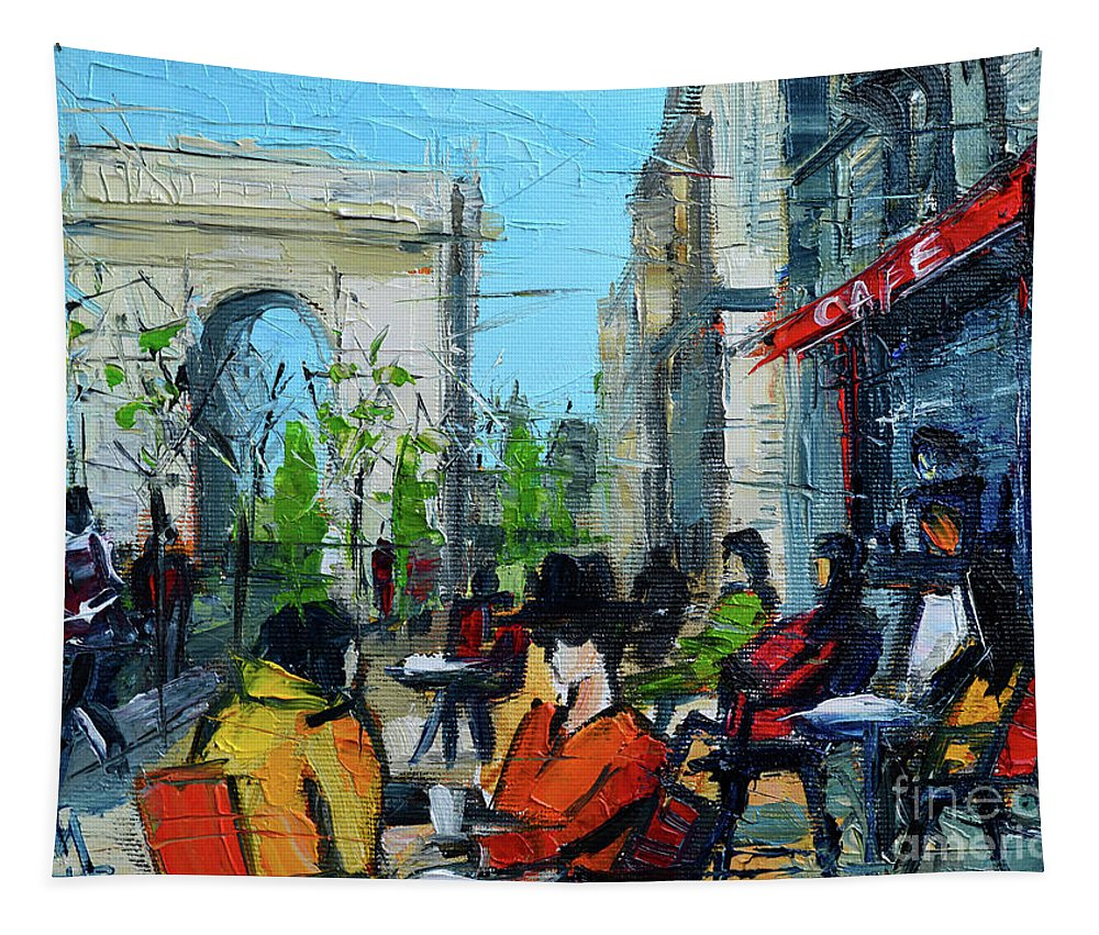 Champs Elysees Tapestry featuring the painting Urban Story - Champs Elysees by Mona Edulesco