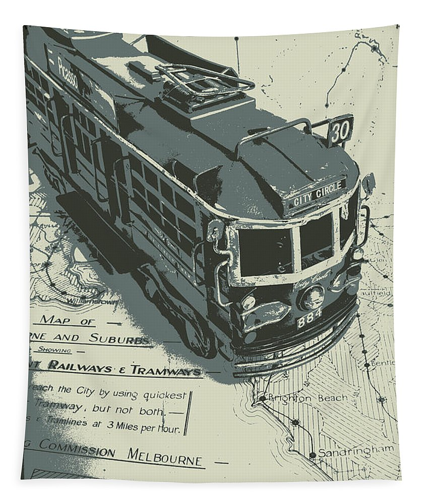 Tram Tapestry featuring the photograph Urban Trams And Old Maps by Jorgo Photography - Wall Art Gallery