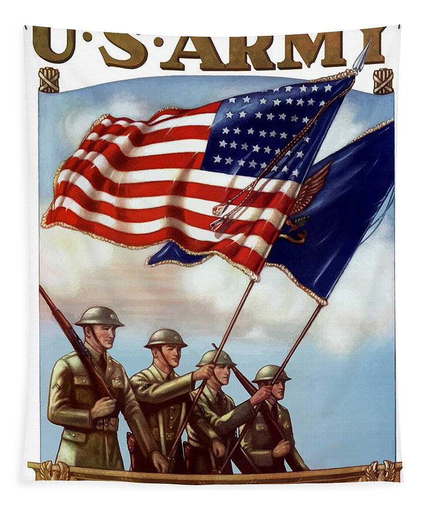 Us Army Tapestry featuring the painting Us Army -- Guardian Of The Colors by War Is Hell Store