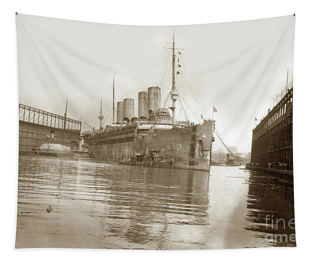 U.s. Army Tapestry featuring the photograph U.s. Army Transport Uss Mount Vernon 1917-1919 by California Views Archives Mr Pat Hathaway Archives