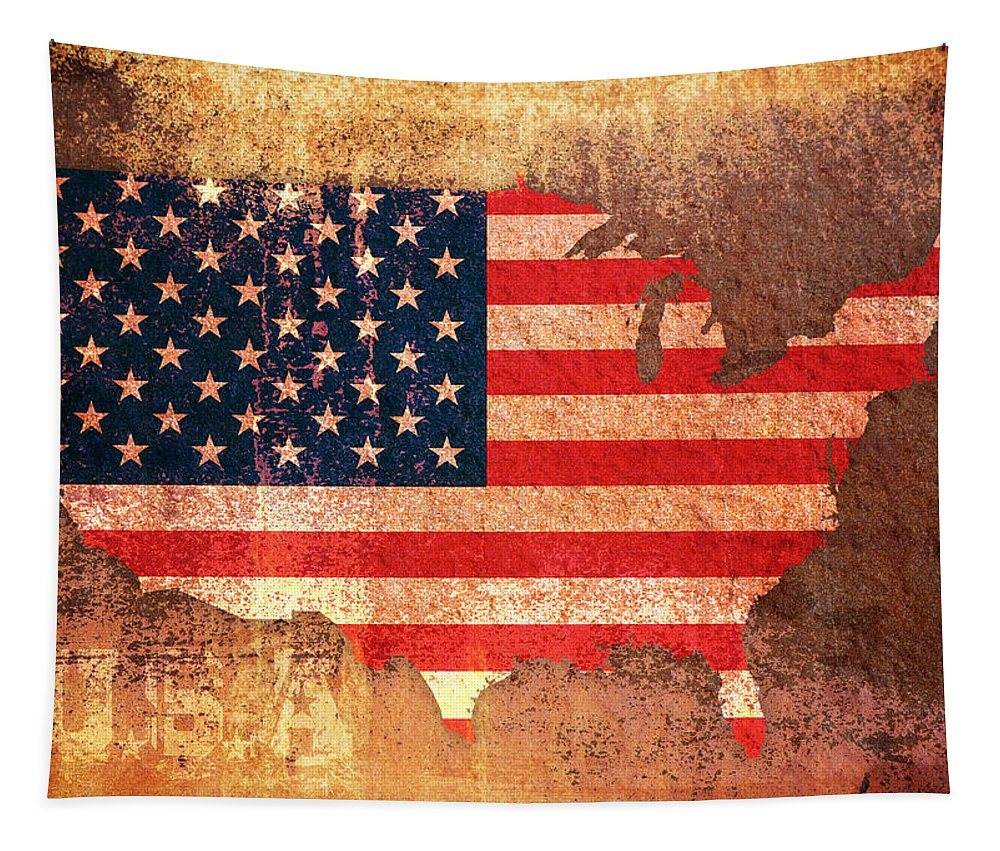 Us Flag Tapestry featuring the digital art Usa Star And Stripes Map by Michael Tompsett