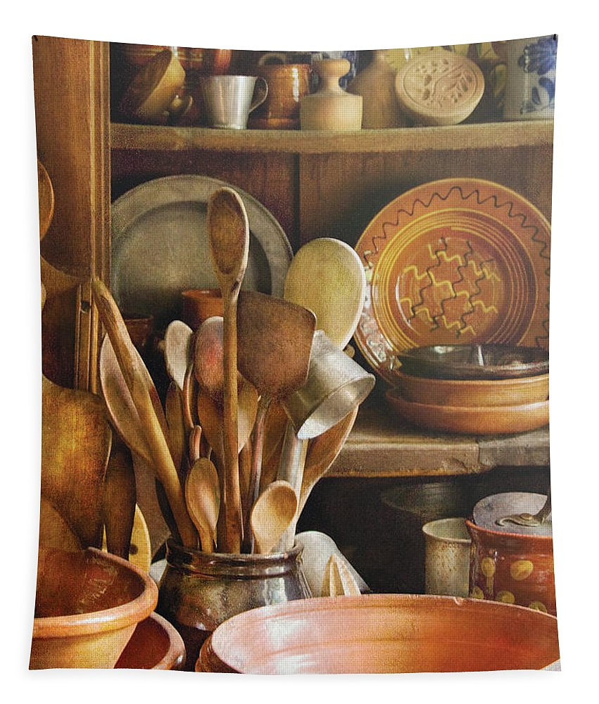 Hdr Tapestry featuring the photograph Utensils - Remembering Momma by Mike Savad