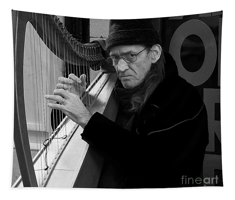 Black And White Portrait Tapestry featuring the photograph Vagrant Music by Elena Perelman