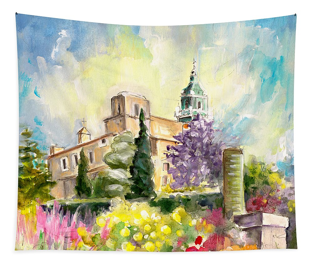 Travel Tapestry featuring the painting Valldemossa 03 by Miki De Goodaboom