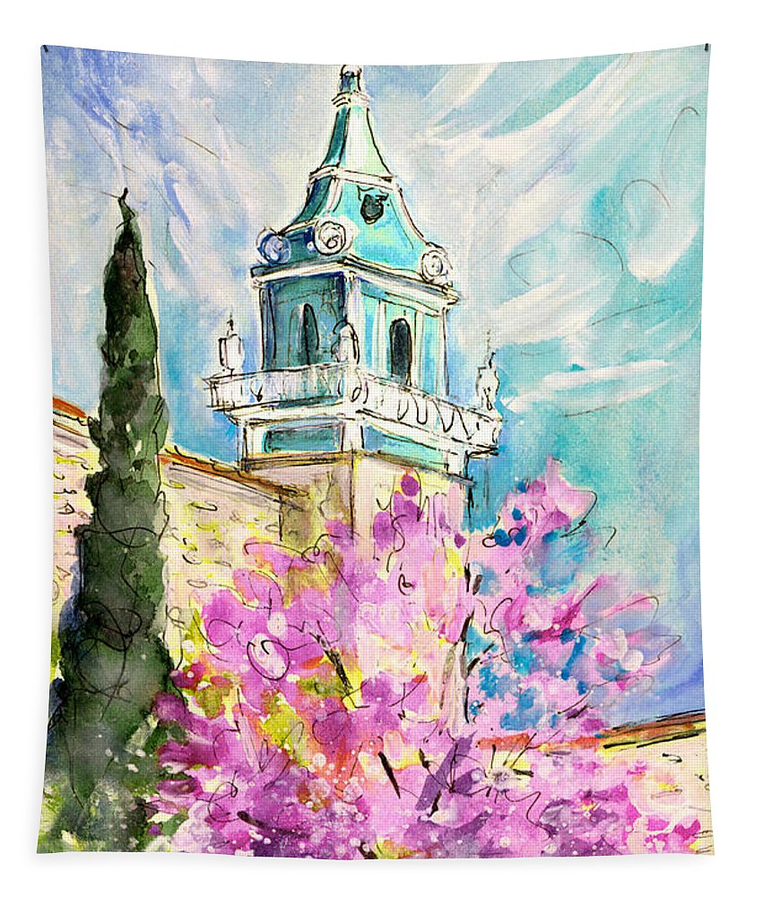 Travel Tapestry featuring the painting Valldemossa 04 by Miki De Goodaboom