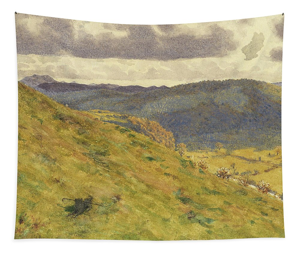 Valley Tapestry featuring the painting Valley Of The Teme, A Sunny November Morning by George Price Boyce