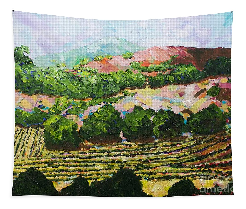 Flowers Tapestry featuring the painting Valley Vineyard by Allan P Friedlander