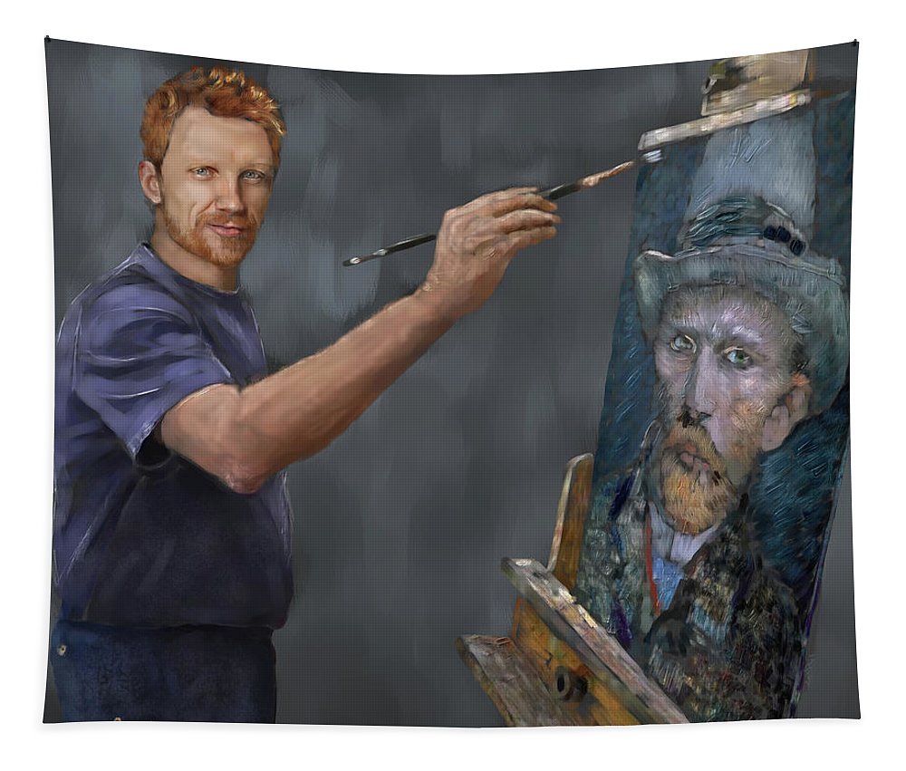 Figure Tapestry featuring the digital art Van Gogh 2018 by Scott Bowlinger
