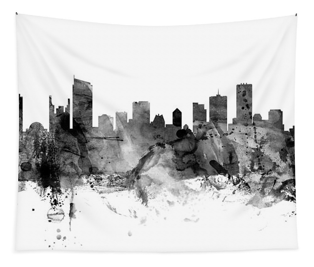 Vancouver Tapestry featuring the digital art Vancouver Canada Skyline Panoramic by Michael Tompsett