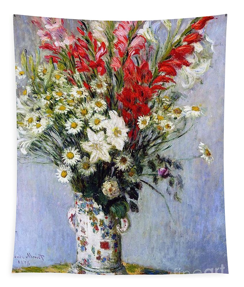 Vase Of Flowers Tapestry featuring the painting Vase Of Flowers by Claude Monet