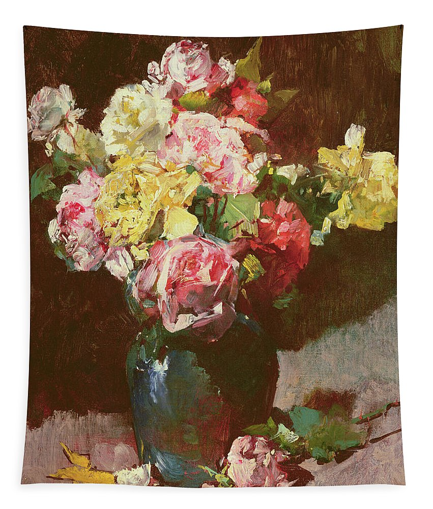 Vase Of Flowers Tapestry featuring the painting Vase Of Flowers by Georges Jeannin
