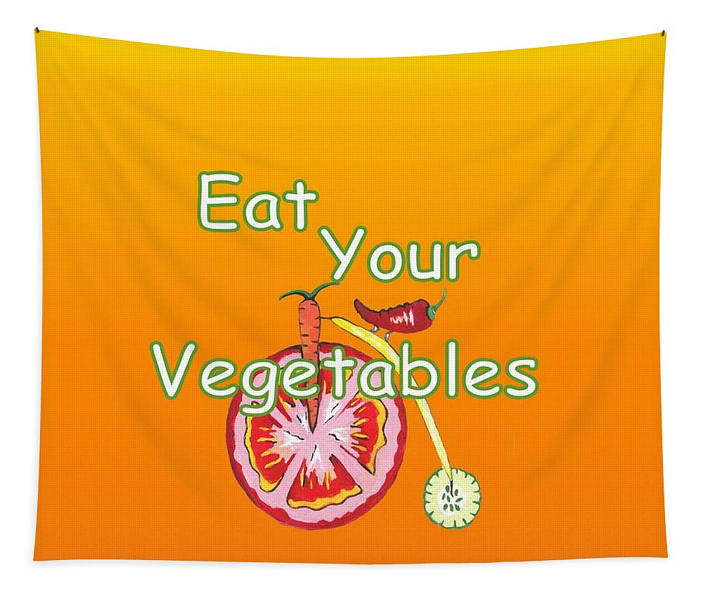Contemporary Vegetables Wall Art Tapestry featuring the mixed media Vegetable Kitchen Decor by Kathleen Sartoris
