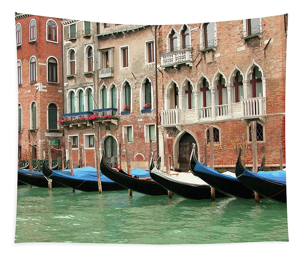 Venetian Tapestry featuring the photograph Venetian Gondolas Waiting by Barbie Corbett-Newmin