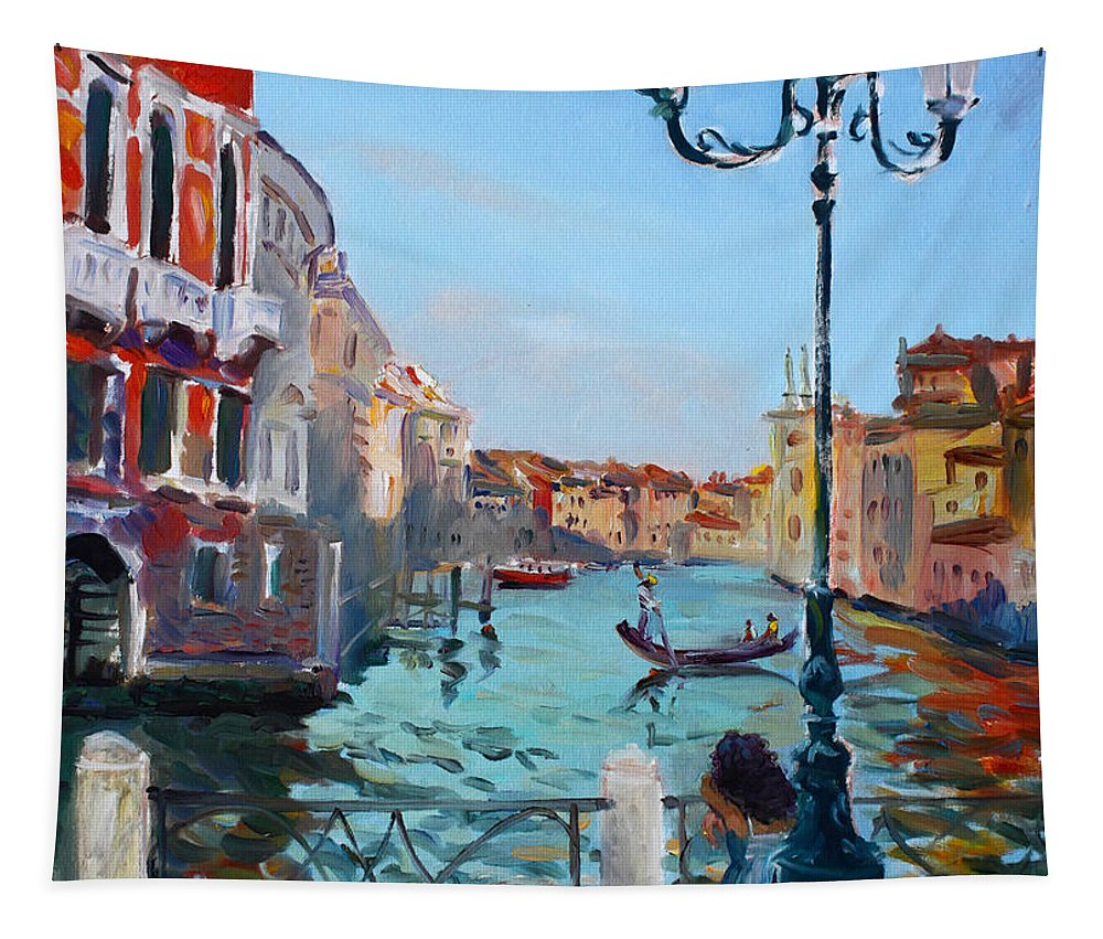 Italy Tapestry featuring the painting Venice Aspetando by Ylli Haruni