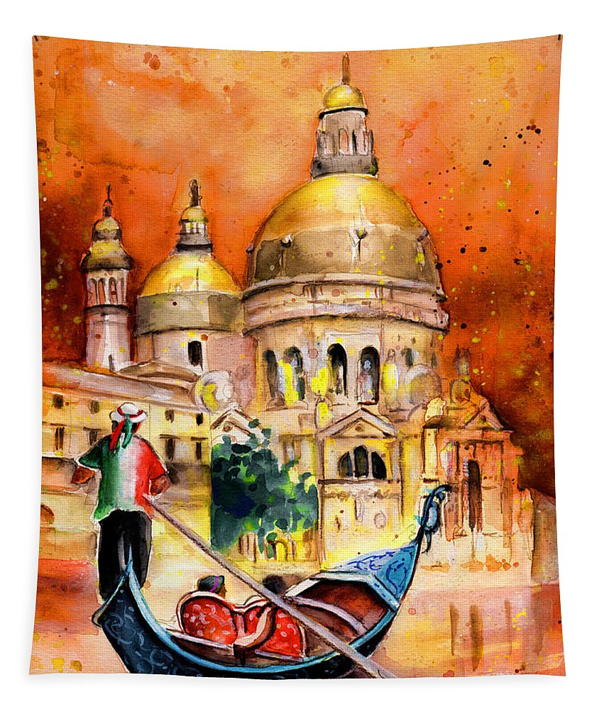 Travel Tapestry featuring the painting Venice Authentic by Miki De Goodaboom