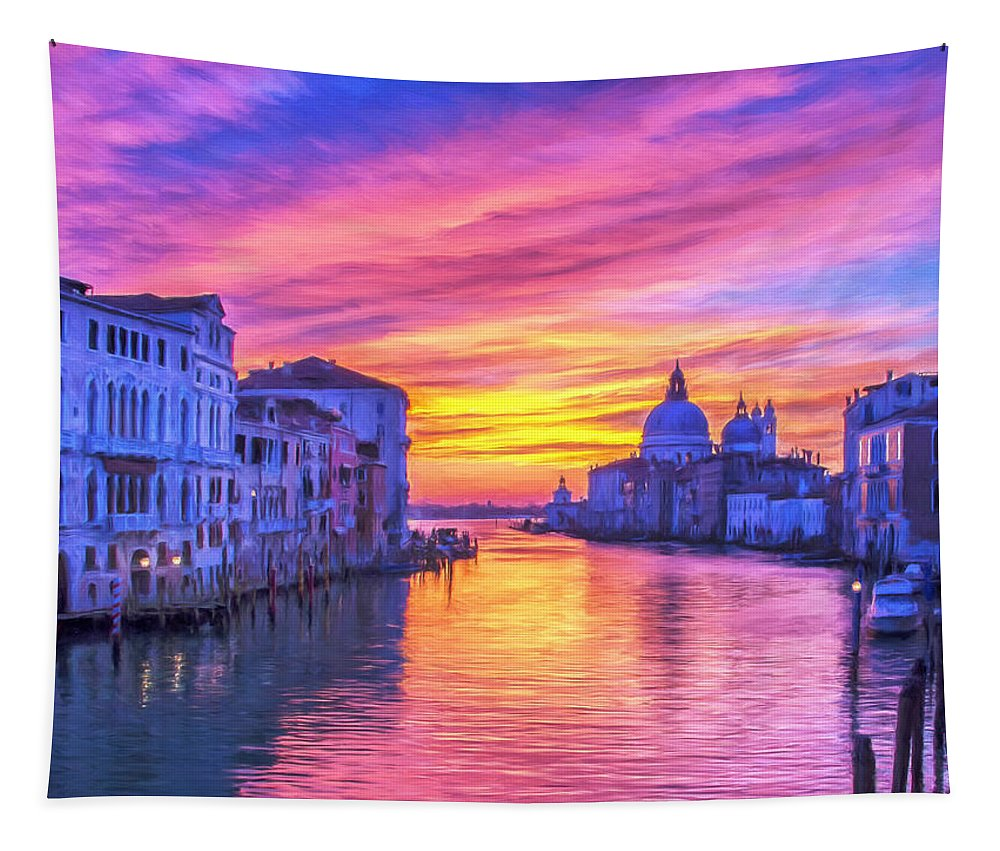 Italy Tapestry featuring the painting Venice Grand Canal At Sunset by Dominic Piperata
