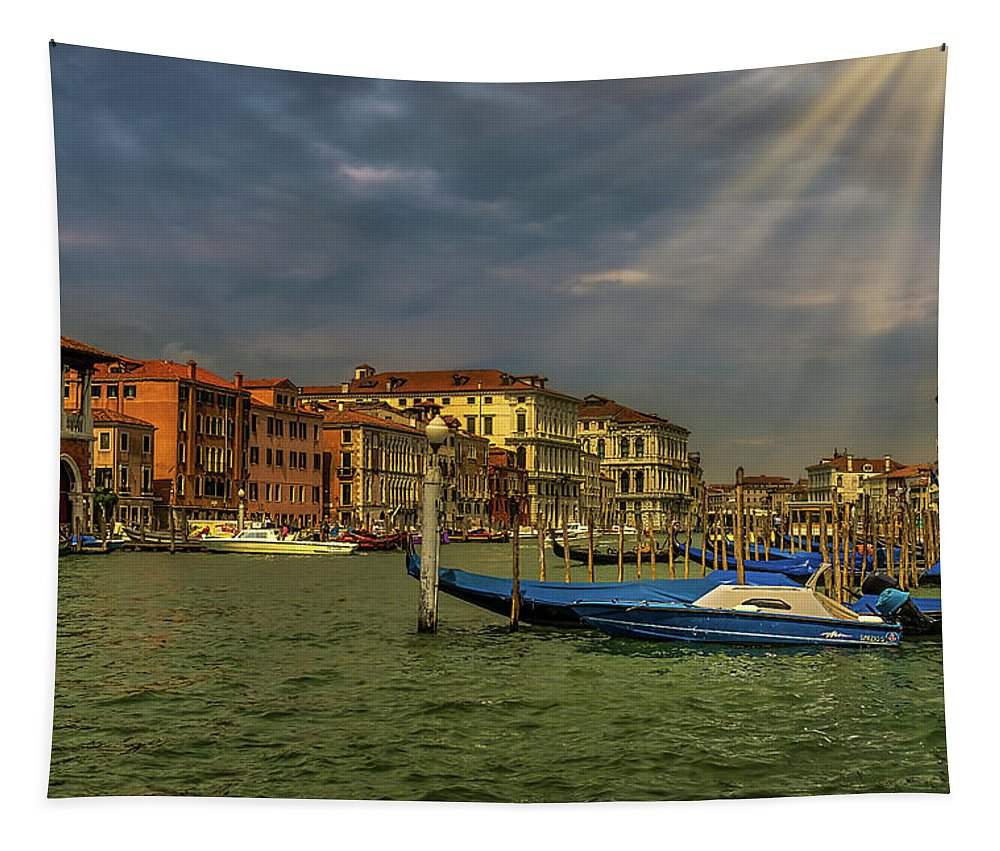 Italy Tapestry featuring the photograph Venice Grand Canal God Sun Rays by Alfredo Alegrett