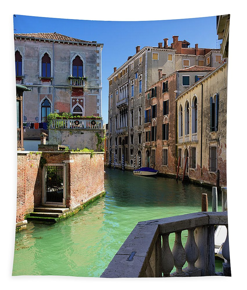 Venice Tapestry featuring the photograph Venice Italy Canal And Lovely Old Houses by Matthias Hauser