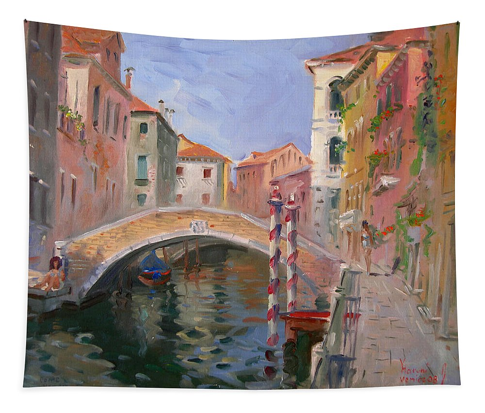 Venice Tapestry featuring the painting Venice Ponte Vendrraria by Ylli Haruni