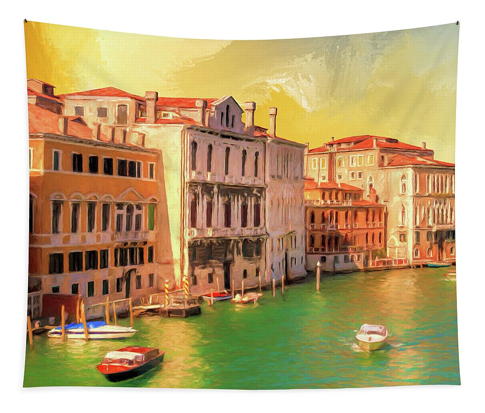 Venezia Tapestry featuring the painting Venice Water Taxis by Dominic Piperata