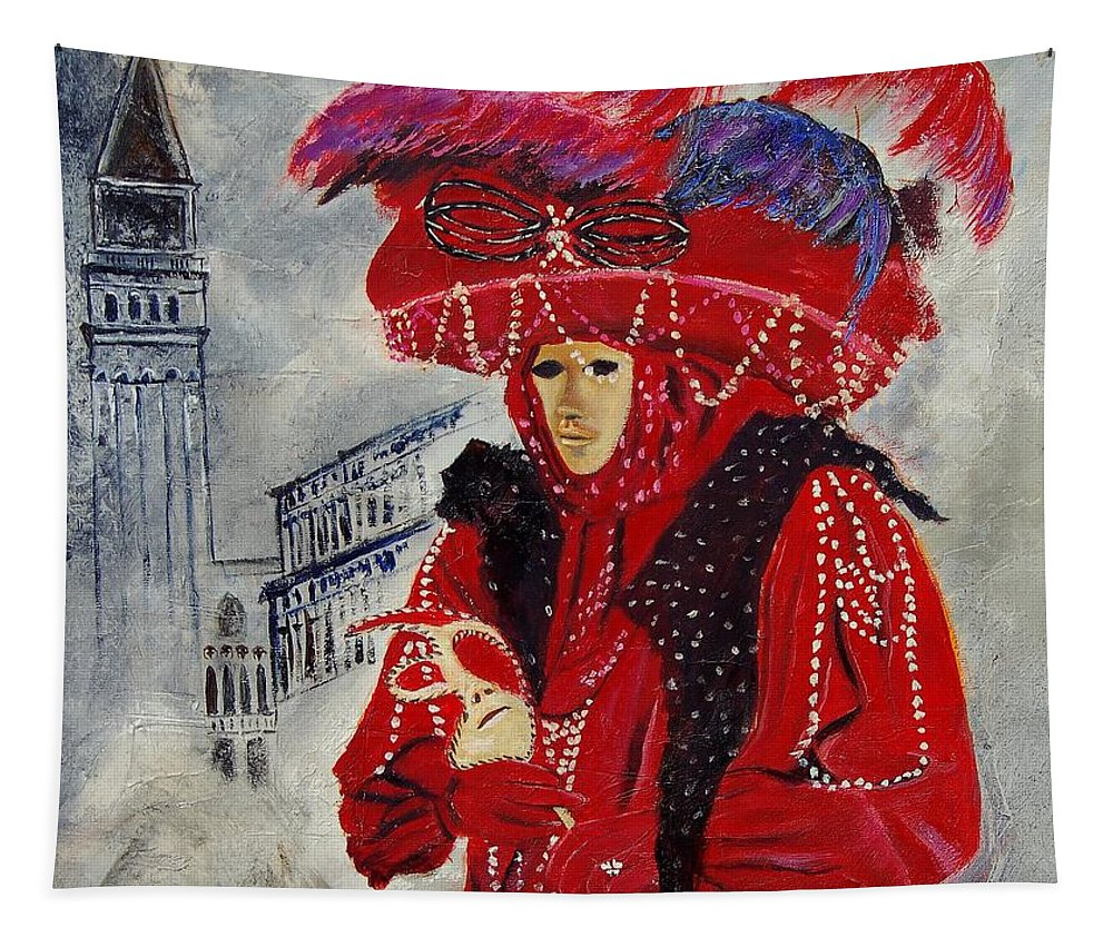 Venice Tapestry featuring the painting Venitian Mask 0130 by Pol Ledent