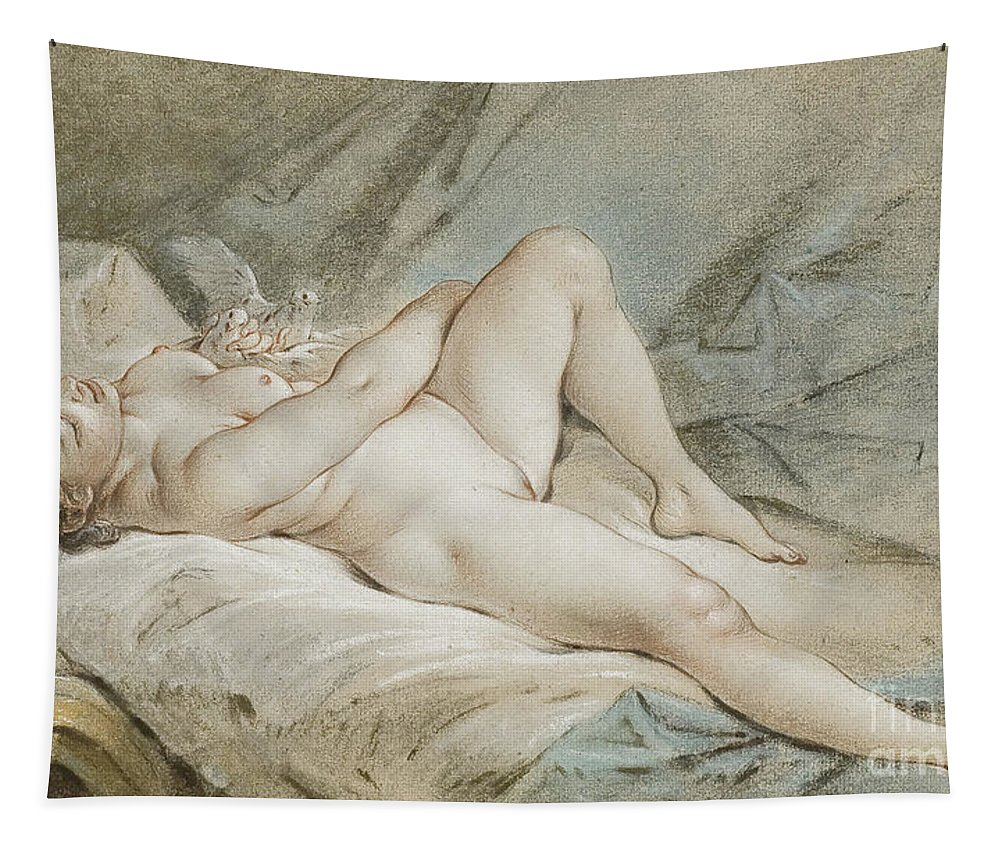 Venus Tapestry featuring the painting Venus Playing With Two Doves by Francois Boucher