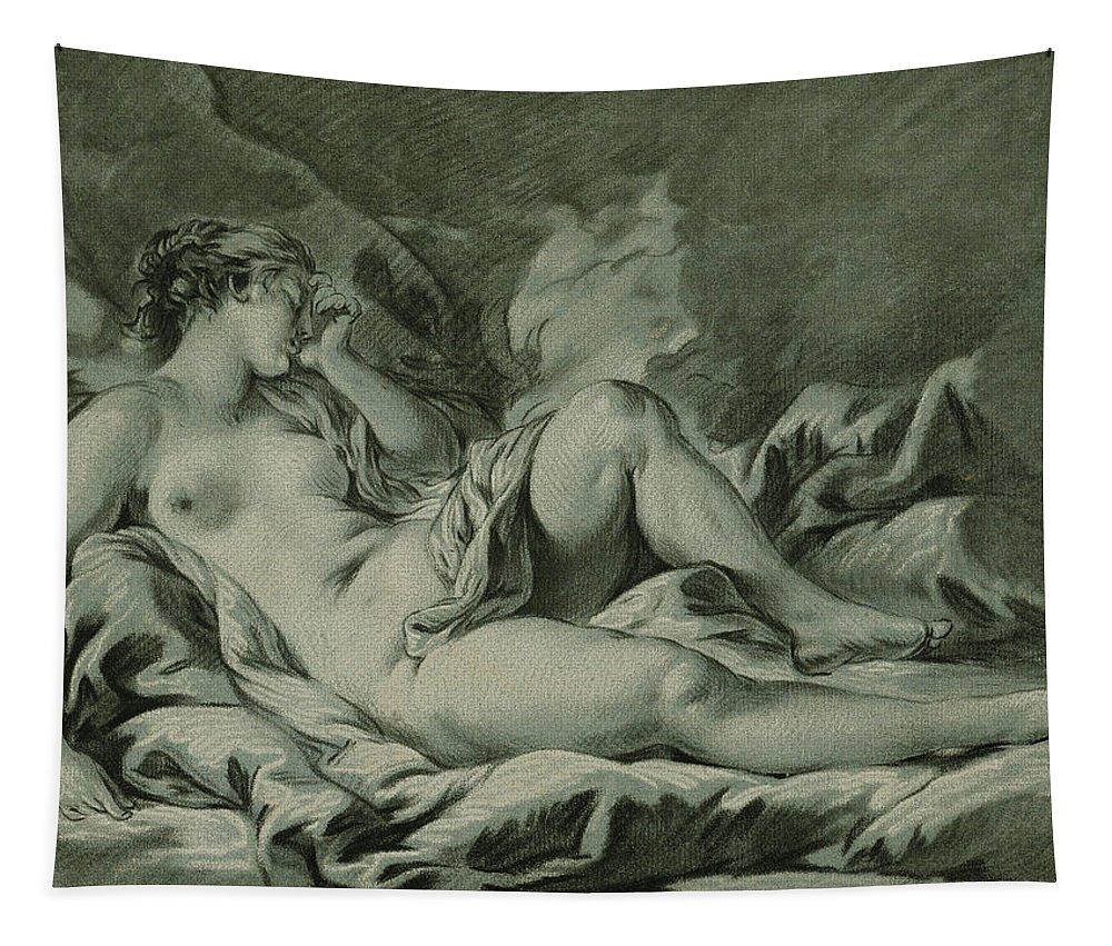 Venus Sleeping Tapestry featuring the drawing Venus Sleeping by Louis Marin Bonnet