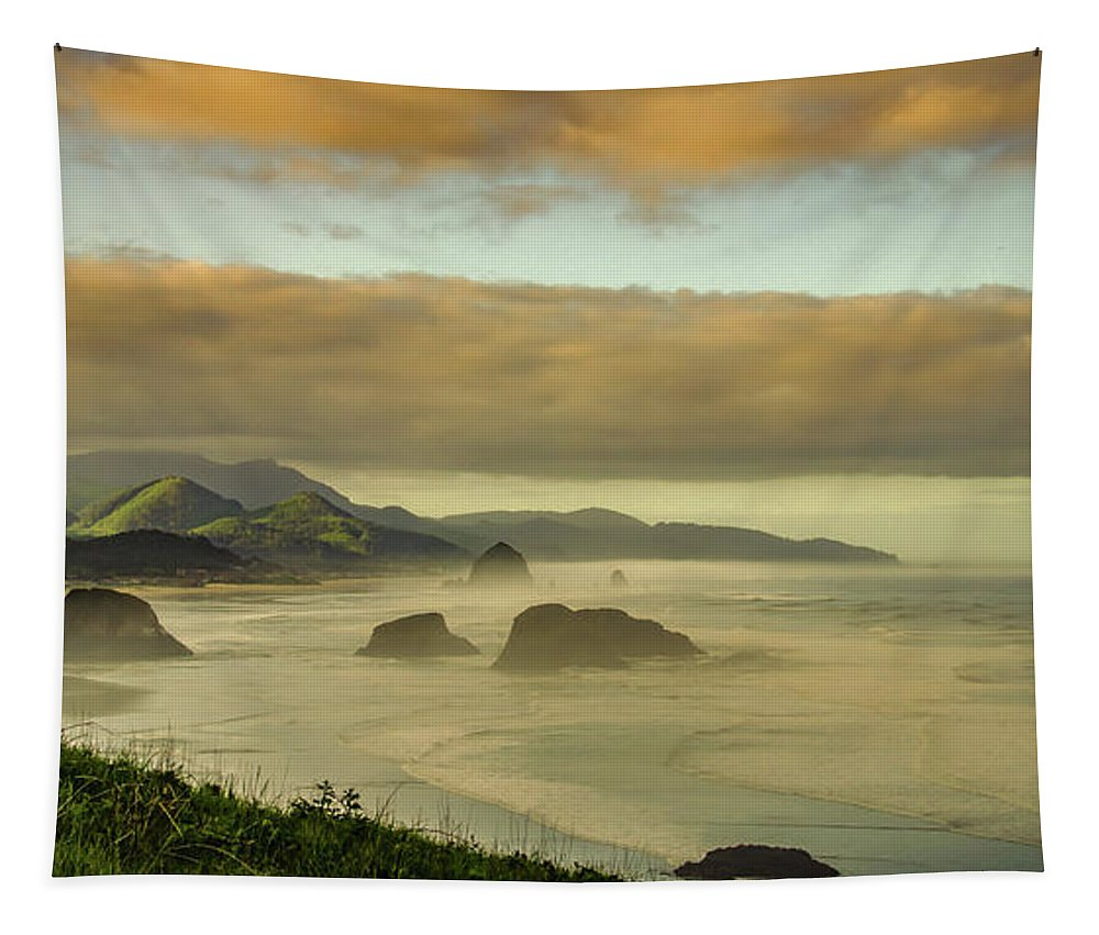 Cannon Beach Tapestry featuring the photograph Verdant Coast by Don Schwartz