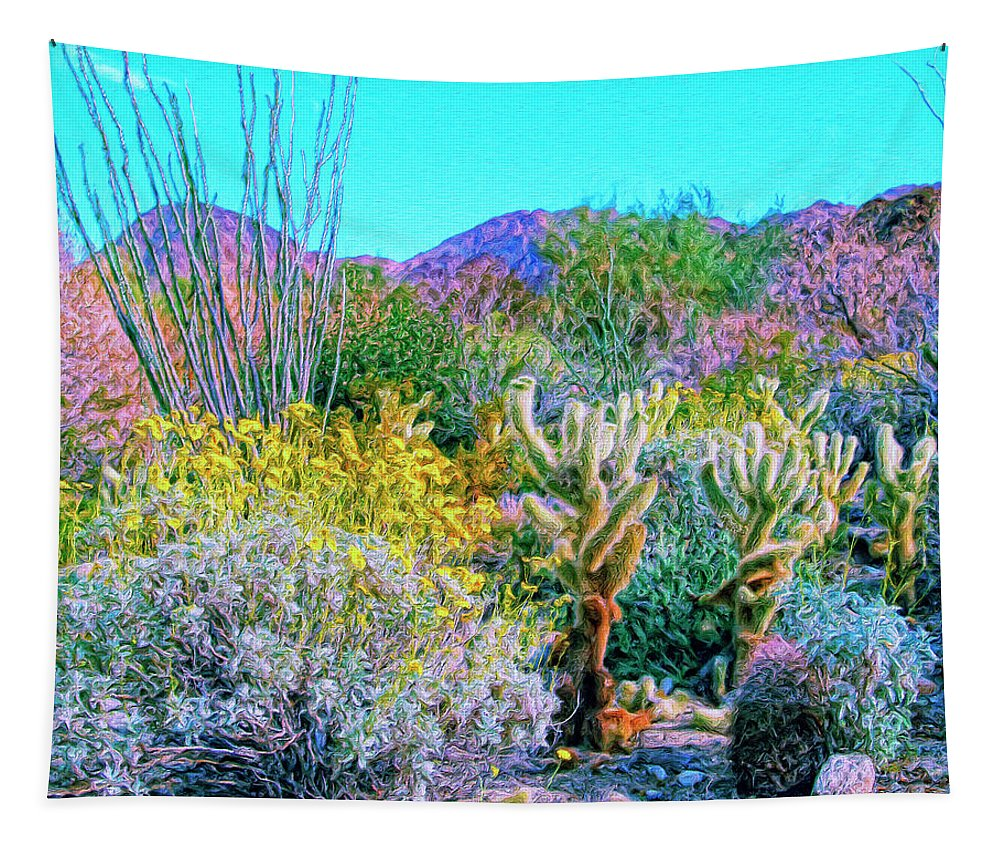 Verdant Spring Tapestry featuring the painting Verdant Spring Mohave Desert by Dominic Piperata