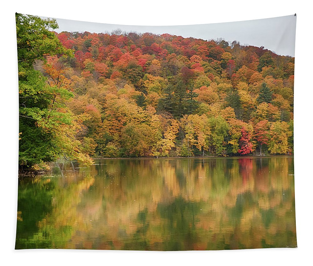 Abenaki Tapestry featuring the photograph Vermont Fall Foliage Reflected On Pogue Pond by Jeff Folger