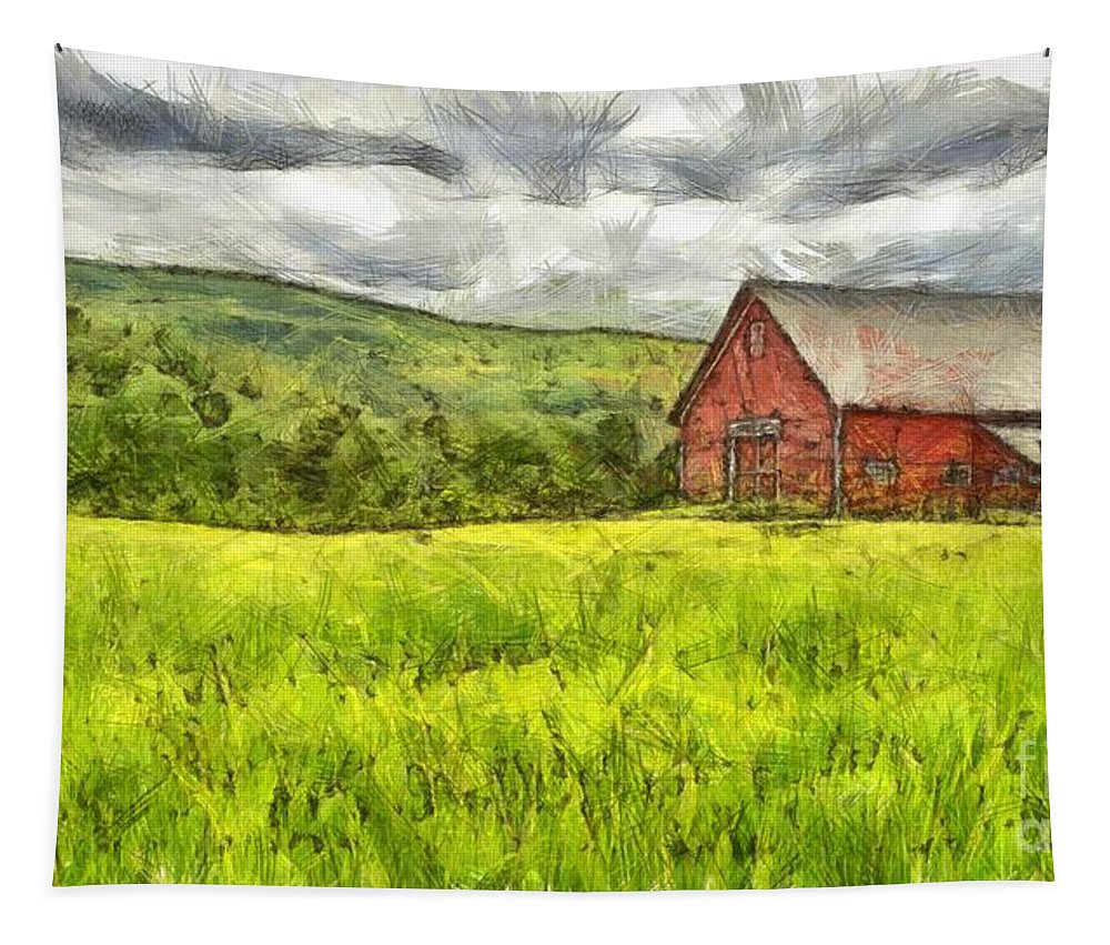 Pencil Tapestry featuring the photograph Vermont Farm Landscape Pencil by Edward Fielding