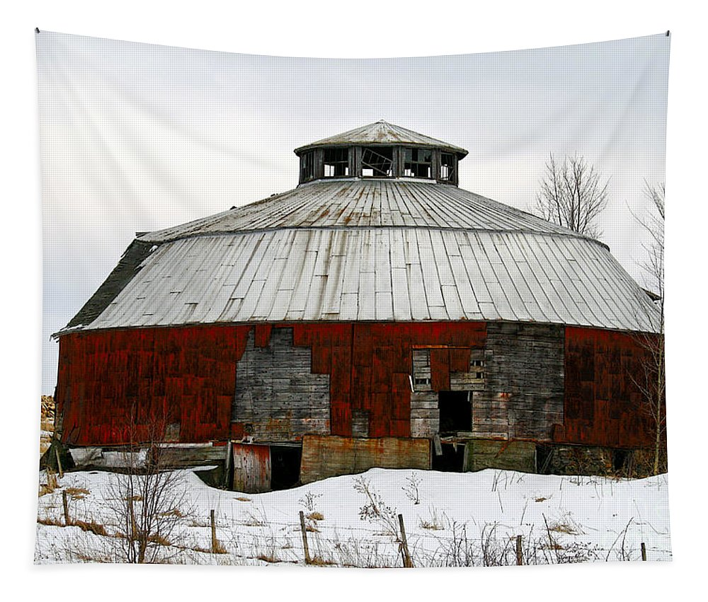 Barn Tapestry featuring the photograph Vermont Round Barn by Deborah Benoit