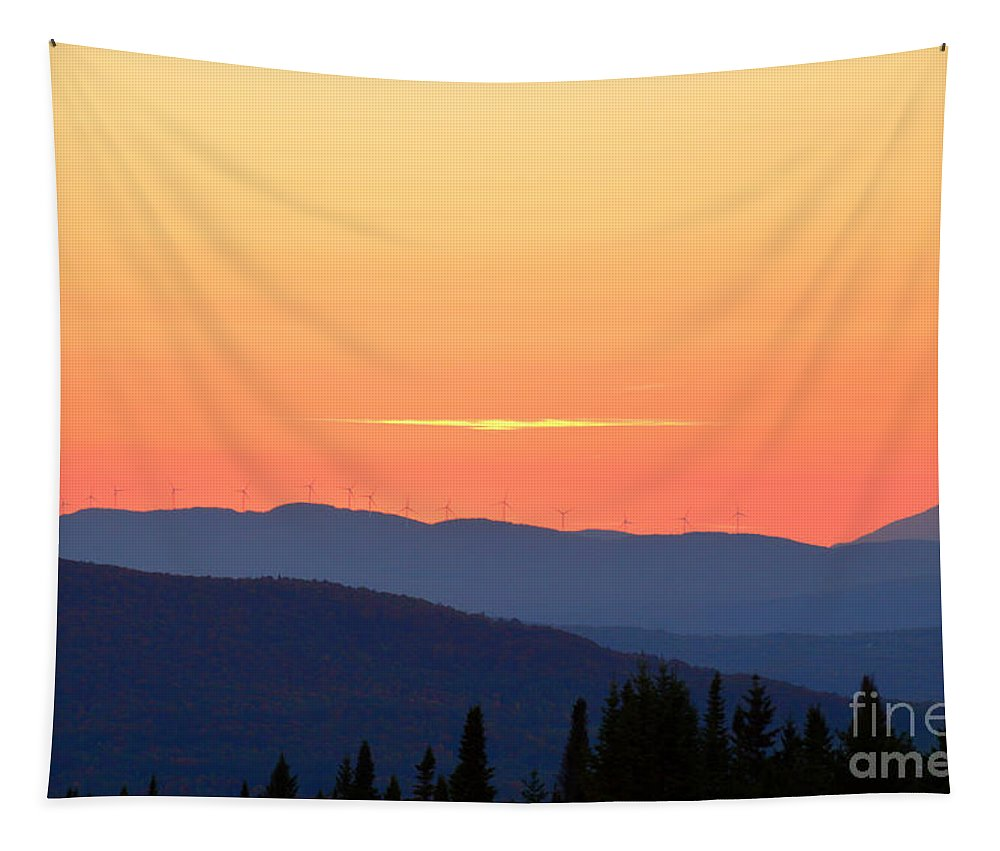 Vermont Tapestry featuring the photograph Vermont Sunset With Wind Turbines by Catherine Sherman