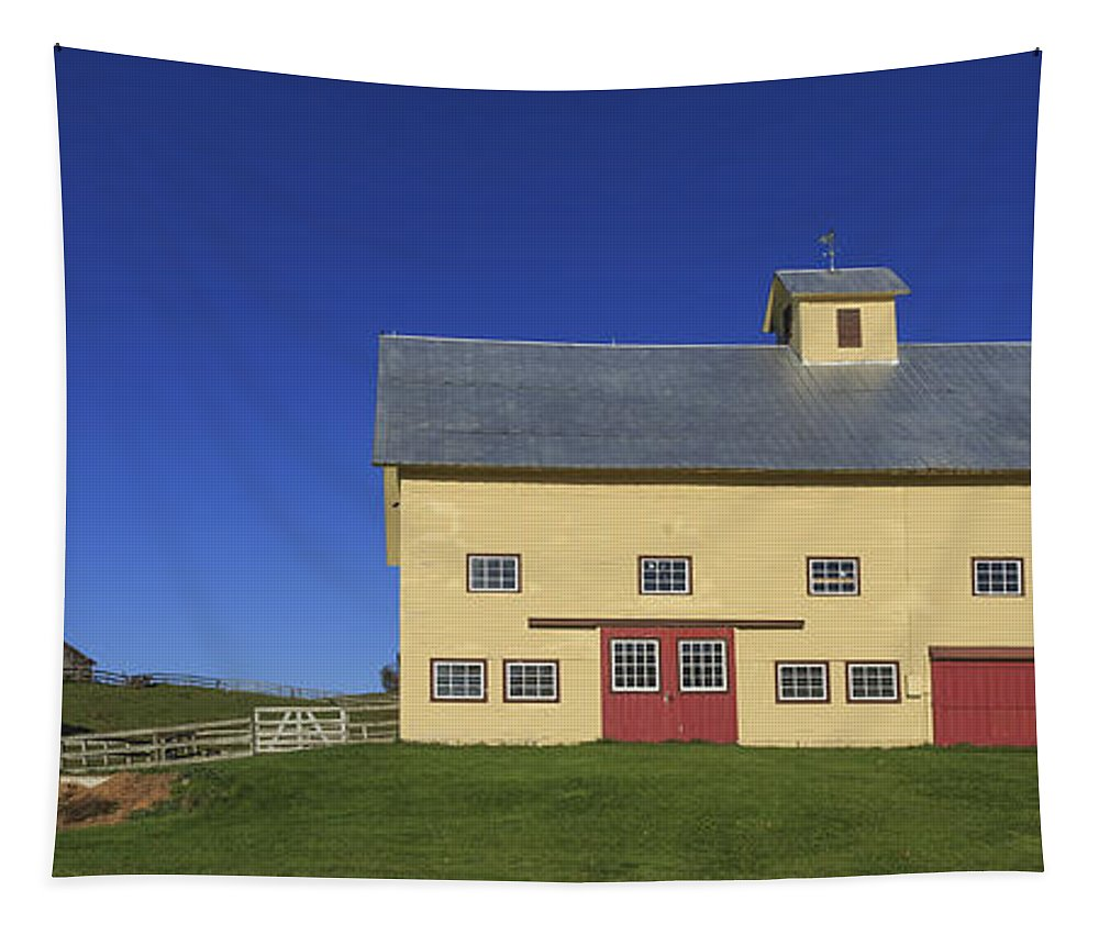 Vermont Tapestry featuring the photograph Vermont Yellow Barn by Edward Fielding