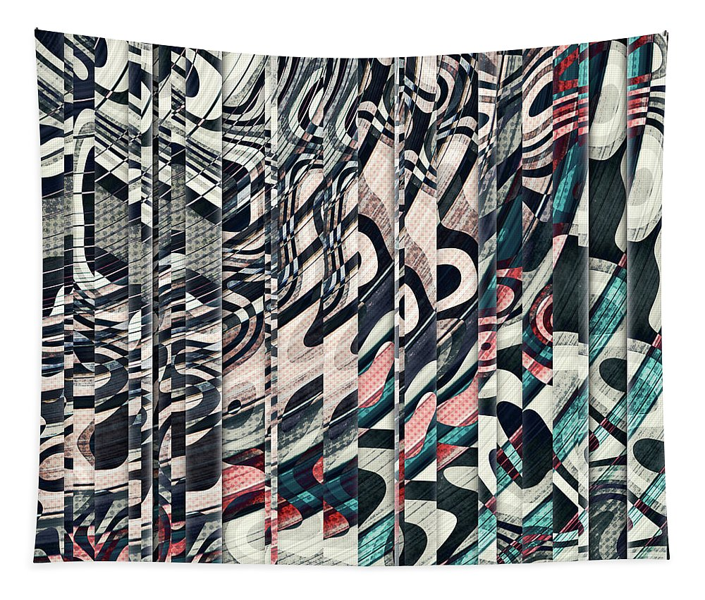 Layers Tapestry featuring the digital art Vertical Graphic Layers by Phil Perkins